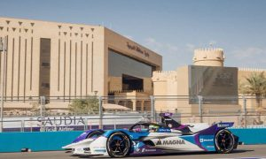 Alexander Sims on track in qualifying for the second round of the Diriyah e-Prix doubleheader.