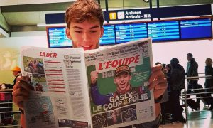 Gasly reads all about yesterday's news!