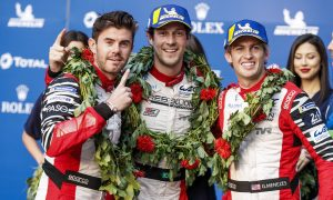 Rebellion Racing team mates Bruno Senna, Gustavo Menezes and Norman Nato celebrate victory in the 4 Hours of Shanghai.