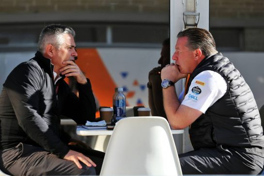 (L to R): Gil de Ferran (BRA) McLaren Sporting Director with Zak Brown (USA) McLaren Executive Director.