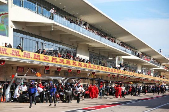 The pit lane during the second practice session.