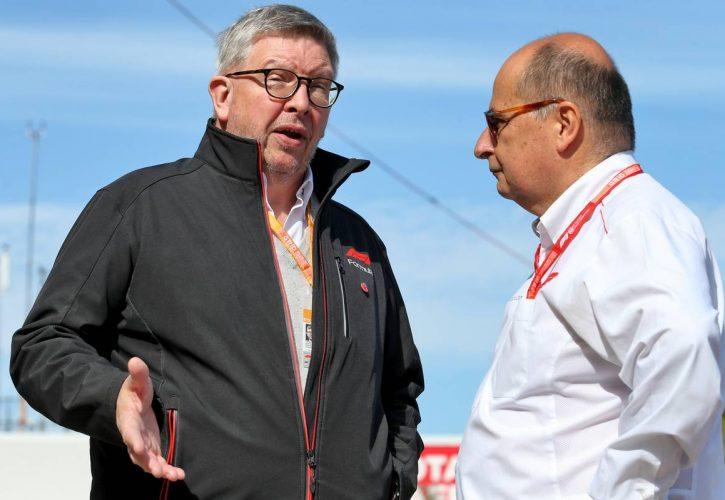 Ross Brawn (GBR) Managing Director, Motor Sports with Luca Colajanni (ITA) Formula One Senior Communications Officer.