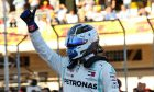 Valtteri Bottas (FIN) Mercedes AMG F1 celebrates his pole position in qualifying parc ferme.