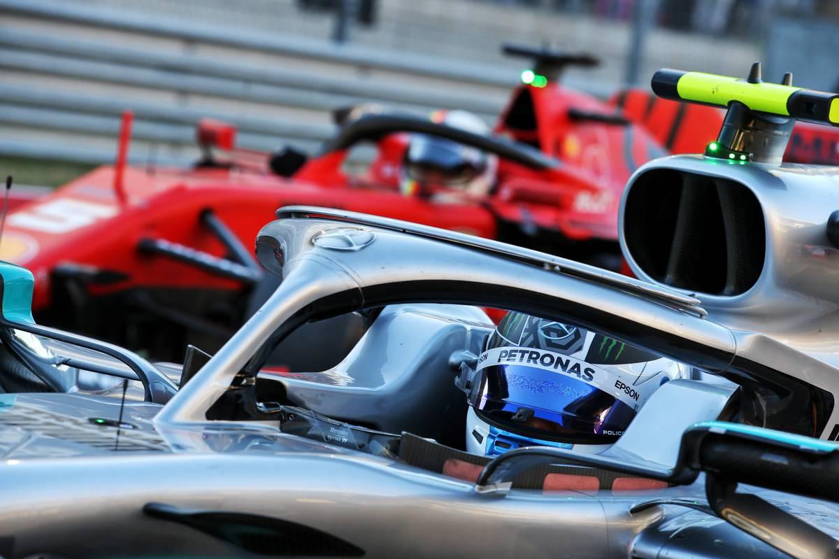 Valtteri Bottas (FIN) Mercedes AMG F1 W10 in qualifying parc ferme.