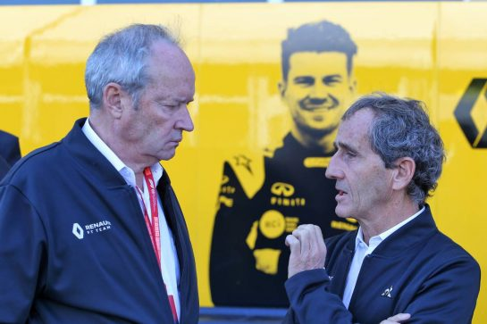 (L to R): Jerome Stoll (FRA) Renault Sport F1 President with Alain Prost (FRA) Renault F1 Team Special Advisor.
