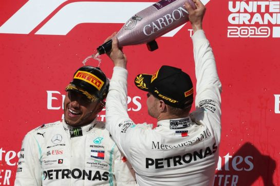 2nd place Lewis Hamilton (GBR) Mercedes AMG F1 W10 and new world champion and 1st place Valtteri Bottas (FIN) Mercedes AMG F1 W10.