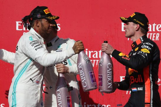 1st place for Valtteri Bottas (FIN) Mercedes AMG F1 W10, 2nd place and new world champion Lewis Hamilton (GBR) Mercedes AMG F1 W10 and 3rd place Max Verstappen (NLD) Red Bull Racing RB15.