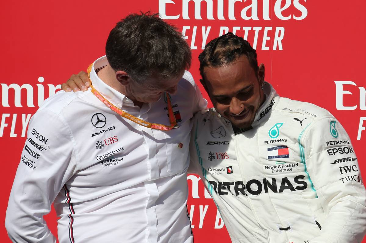 ames Allison (GBR) Mercedes AMG F1 Technical Director and 2nd place Lewis Hamilton (GBR) Mercedes AMG F1 W10 and new world champion.