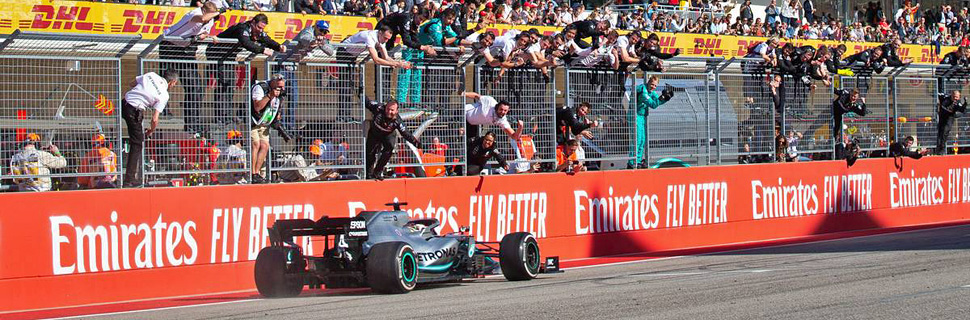 Lewis Hamilton (GBR) Mercedes AMG F1 W10 celebrates second position and the World Championship at the end of the race.