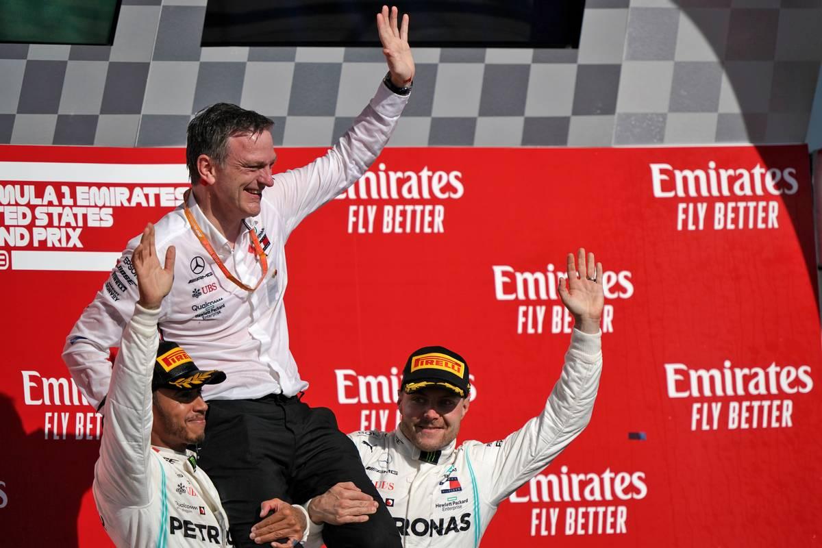 The podium (L to R): Lewis Hamilton (GBR) Mercedes AMG F1; James Allison (GBR) Mercedes AMG F1 Technical Director; Valtteri Bottas (FIN) Mercedes AMG F1.
