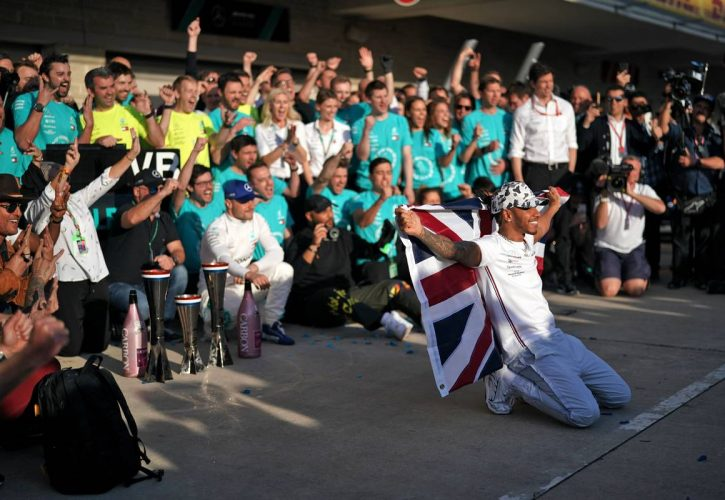 Lewis Hamilton (GBR) Mercedes AMG F1 celebrates his second position and World Championship with Valtteri Bottas (FIN) Mercedes AMG F1, his family, and the team.