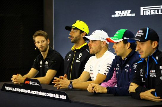 The FIA Press Conference (L to R): Romain Grosjean (FRA) Haas F1 Team; Daniel Ricciardo (AUS) Renault F1 Team; Valtteri Bottas (FIN) Mercedes AMG F1; Sergio Perez (MEX) Racing Point F1 Team; Robert Kubica (POL) Williams Racing. 14.11.2019. Formula 1 World Championship, Rd 20, Brazilian Grand Prix, Sao Paulo, Brazil, Preparation Day. - www.xpbimages.com, EMail: requests@xpbimages.com © Copyright: Photo4 / XPB Images