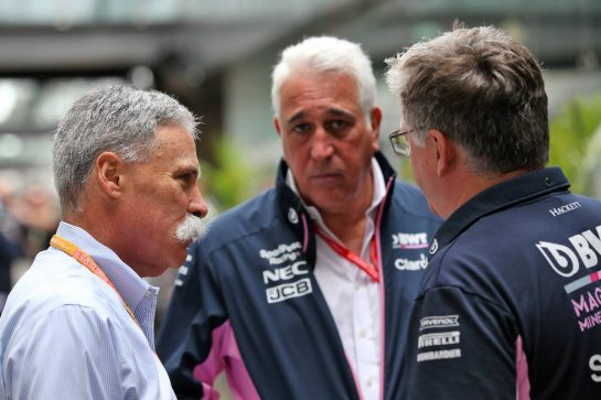 (L to R): Chase Carey (USA) Formula One Group Chairman with Lawrence Stroll (CDN) Racing Point F1 Team Investor and Otmar Szafnauer (USA) Racing Point F1 Team Principal and CEO. 16.11.2019. Formula 1 World Championship, Rd 20, Brazilian Grand Prix, Sao Paulo, Brazil, Qualifying Day. - www.xpbimages.com, EMail: requests@xpbimages.com © Copyright: Batchelor / XPB Images