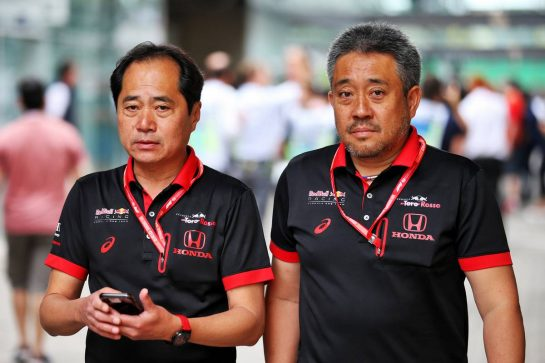 (L to R): Toyoharu Tanabe (JPN) Honda Racing F1 Technical Director with Masashi Yamamoto (JPN) Honda Racing F1 Managing Director. 16.11.2019. Formula 1 World Championship, Rd 20, Brazilian Grand Prix, Sao Paulo, Brazil, Qualifying Day. - www.xpbimages.com, EMail: requests@xpbimages.com © Copyright: Batchelor / XPB Images
