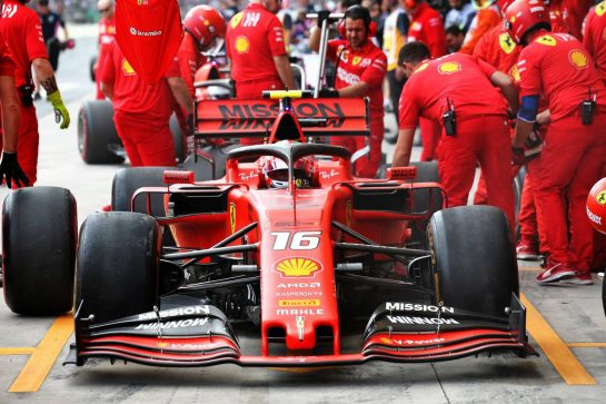 Charles Leclerc (MON) Ferrari SF90 in the pits. 16.11.2019. Formula 1 World Championship, Rd 20, Brazilian Grand Prix, Sao Paulo, Brazil, Qualifying Day. - www.xpbimages.com, EMail: requests@xpbimages.com © Copyright: Batchelor / XPB Images