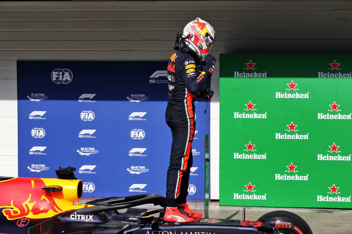 Max Verstappen (NLD) Red Bull Racing RB15 celebrates his pole position in qualifying parc ferme. 16.11.2019.