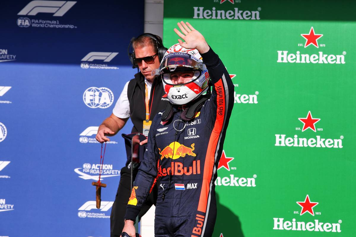 Max Verstappen (NLD) Red Bull Racing celebrates his pole position in qualifying parc ferme.