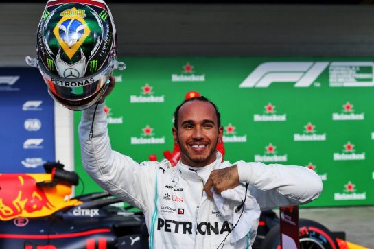 Lewis Hamilton (GBR) Mercedes AMG F1 celebrates his third position in qualifying parc ferme.