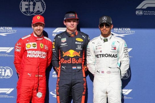 Qualifying top three in parc ferme (L to R): Sebastian Vettel (GER) Ferrari, second; Max Verstappen (NLD) Red Bull Racing, pole position; Lewis Hamilton (GBR) Mercedes AMG F1, third.
