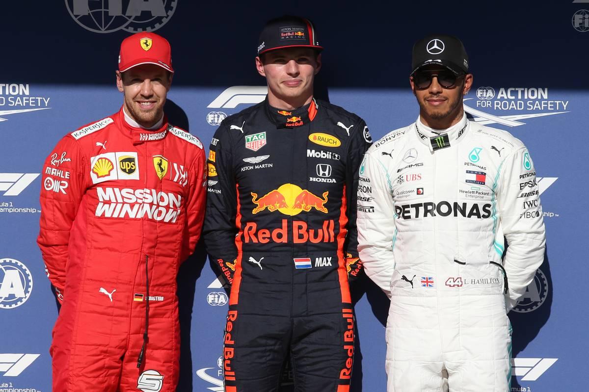 Pole for Max Verstappen (NLD) Red Bull Racing RB15, 2nd for Sebastian Vettel (GER) Ferrari SF90 and 3rd for Lewis Hamilton (GBR) Mercedes AMG F1 W10.