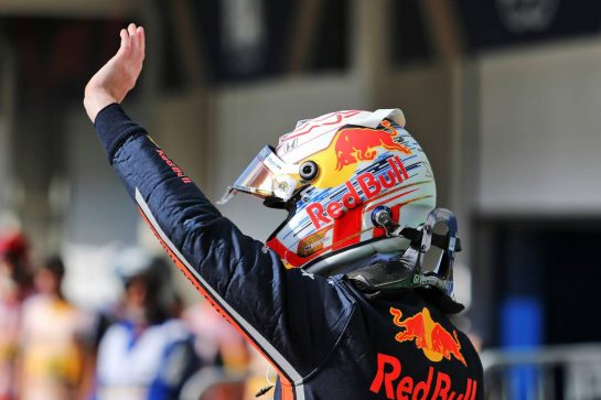 Max Verstappen (NLD) Red Bull Racing celebrates his pole position in qualifying parc ferme. 16.11.2019. Formula 1 World Championship, Rd 20, Brazilian Grand Prix, Sao Paulo, Brazil, Qualifying Day. - www.xpbimages.com, EMail: requests@xpbimages.com © Copyright: Charniaux / XPB Images