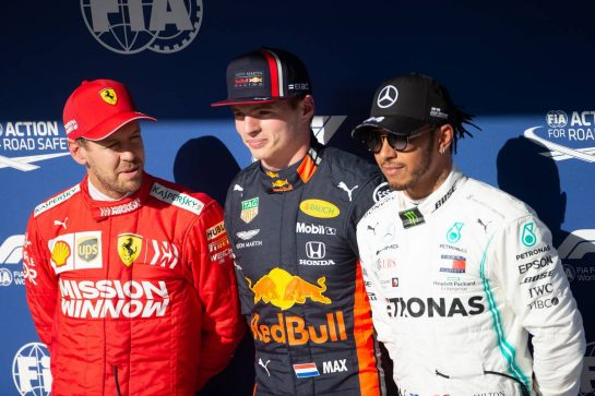 Qualifying top three in parc ferme (L to R): Sebastian Vettel (GER) Ferrari, second; Max Verstappen (NLD) Red Bull Racing, pole position; Lewis Hamilton (GBR) Mercedes AMG F1, third. 16.11.2019. Formula 1 World Championship, Rd 20, Brazilian Grand Prix, Sao Paulo, Brazil, Qualifying Day. - www.xpbimages.com, EMail: requests@xpbimages.com © Copyright: Bearne / XPB Images