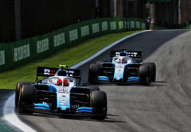 Robert Kubica (POL) Williams Racing FW42 leads team mate George Russell (GBR) Williams Racing FW42.