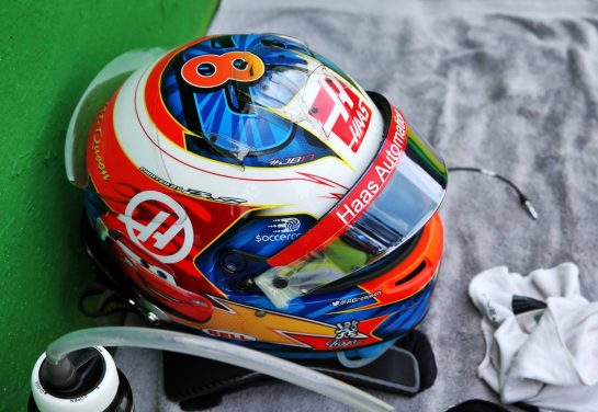 The helmet of Kevin Magnussen (DEN) Haas F1 Team on the grid.