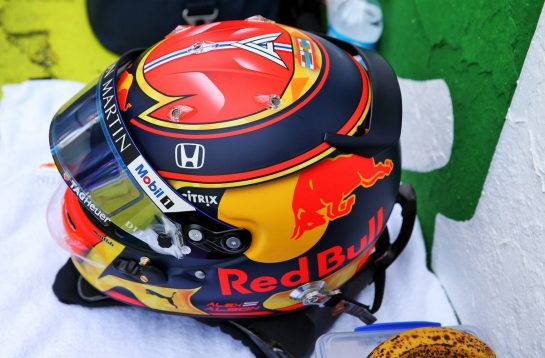 The helmet of Alexander Albon (THA) Red Bull Racing on the grid.