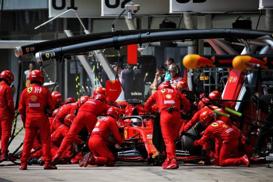 Sebastian Vettel (GER) Ferrari SF90 makes a pit stop.