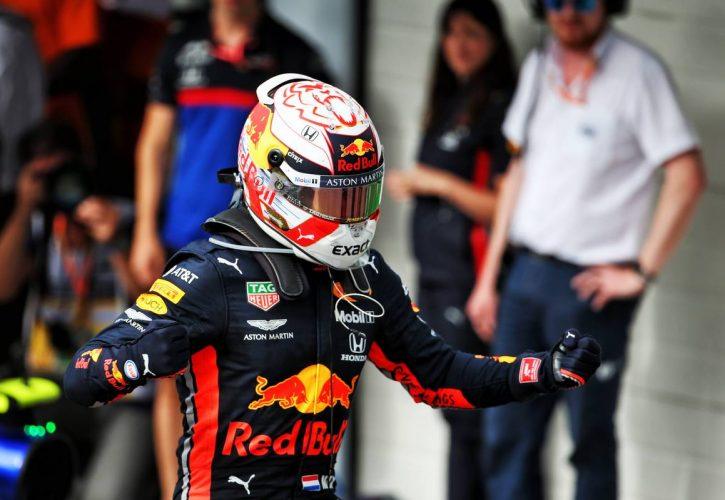 Race winner Max Verstappen (NLD) Red Bull Racing celebrates in parc ferme. 17.11.2019.