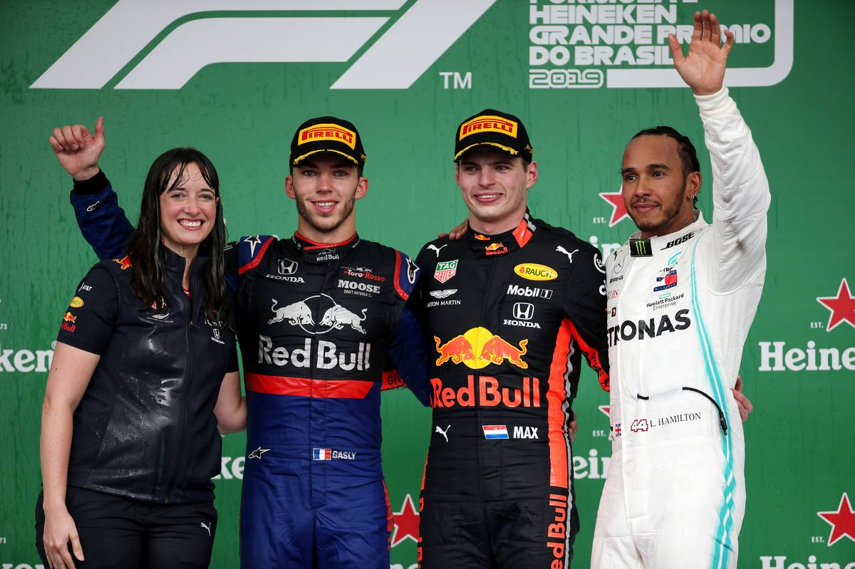 1st place Max Verstappen (NLD) Red Bull Racing RB15, 2nd place Pierre Gasly (FRA) Scuderia Toro Rosso STR14 and 3rd place Lewis Hamilton (GBR) Mercedes AMG F1 W10.
