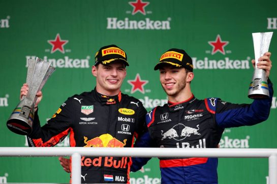 1st place Max Verstappen (NLD) Red Bull Racing RB15 and 2nd place Pierre Gasly (FRA) Scuderia Toro Rosso STR14.17.11.2019. Formula 1 World Championship, Rd 20, Brazilian Grand Prix, Sao Paulo, Brazil, Race Day.- www.xpbimages.com, EMail: requests@xpbimages.com © Copyright: Batchelor / XPB Images
