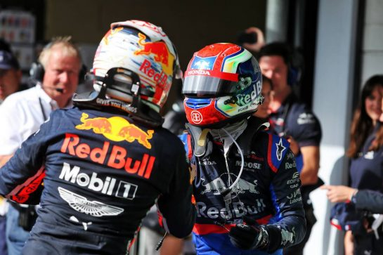 (L to R): Race winner Max Verstappen (NLD) Red Bull Racing celebrates in parc ferme with second placed Pierre Gasly (FRA) Scuderia Toro Rosso STR14. 17.11.2019. Formula 1 World Championship, Rd 20, Brazilian Grand Prix, Sao Paulo, Brazil, Race Day. - www.xpbimages.com, EMail: requests@xpbimages.com © Copyright: Moy / XPB Images