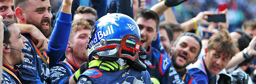 Pierre Gasly (FRA) Scuderia Toro Rosso celebrates his second position in parc ferme with the team