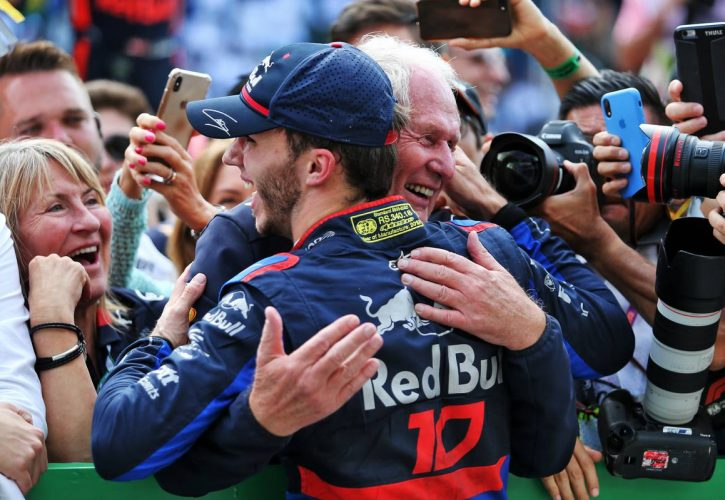 Pierre Gasly (FRA) Scuderia Toro Rosso celebrates his second position in parc ferme with Dr Helmut Marko (AUT) Red Bull Motorsport Consultant.