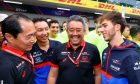 Pierre Gasly (FRA) Scuderia Toro Rosso celebrates his second position with Toyoharu Tanabe (JPN) Honda Racing F1 Technical Director; Masashi Yamamoto (JPN) Honda Racing F1 Managing Director and the team.