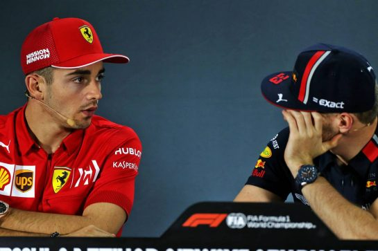 (L to R): Charles Leclerc (MON) Ferrari and Max Verstappen (NLD) Red Bull Racing in the FIA Press Conference.