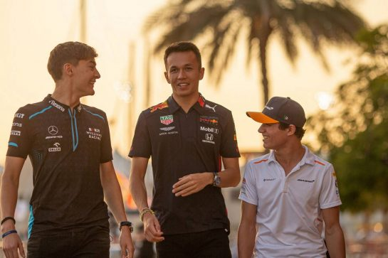 (L to R): George Russell (GBR) Williams Racing with Alexander Albon (THA) Red Bull Racing and Lando Norris (GBR) McLaren.