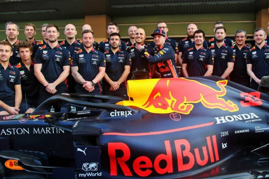 Max Verstappen (NLD) Red Bull Racing and Gianpiero Lambiase (ITA) Red Bull Racing Engineer at a team photograph.