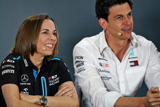 (L to R): Claire Williams (GBR) Williams Racing Deputy Team Principal and Toto Wolff (GER) Mercedes AMG F1 Shareholder and Executive Director in the FIA Press Conference. 29.11.2019. Formula 1 World Championship, Rd 21, Abu Dhabi Grand Prix, Yas Marina Circuit, Abu Dhabi, Practice Day. - www.xpbimages.com, EMail: requests@xpbimages.com © Copyright: Dungan / XPB Images