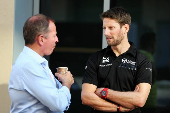 (L to R): Martin Brundle (GBR) Sky Sports Commentator with Romain Grosjean (FRA) Haas F1 Team. 29.11.2019. Formula 1 World Championship, Rd 21, Abu Dhabi Grand Prix, Yas Marina Circuit, Abu Dhabi, Practice Day. - www.xpbimages.com, EMail: requests@xpbimages.com © Copyright: Moy / XPB Images