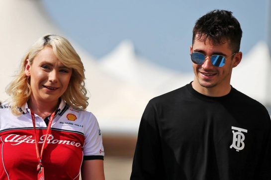 (L to R): Ruth Buscombe (GBR) Alfa Romeo Racing Trackside Strategy Engineer with Charles Leclerc (MON) Ferrari.