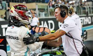 Lewis Hamilton (GBR) Mercedes AMG F1 celebrates his pole position in qualifying parc ferme.