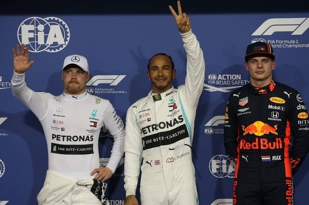 Pole for Lewis Hamilton (GBR) Mercedes AMG F1 W10, 2nd for Valtteri Bottas (FIN) Mercedes AMG F1 W10 and 3rd for Max Verstappen (NLD) Red Bull Racing RB15.