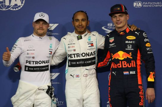 Pole for Lewis Hamilton (GBR) Mercedes AMG F1 W10, 2nd for Valtteri Bottas (FIN) Mercedes AMG F1 W10 and 3rd for Max Verstappen (NLD) Red Bull Racing RB15. 30.11.2019. Formula 1 World Championship, Rd 21, Abu Dhabi Grand Prix, Yas Marina Circuit, Abu Dhabi, Qualifying Day. - www.xpbimages.com, EMail: requests@xpbimages.com © Copyright: Batchelor / XPB Images