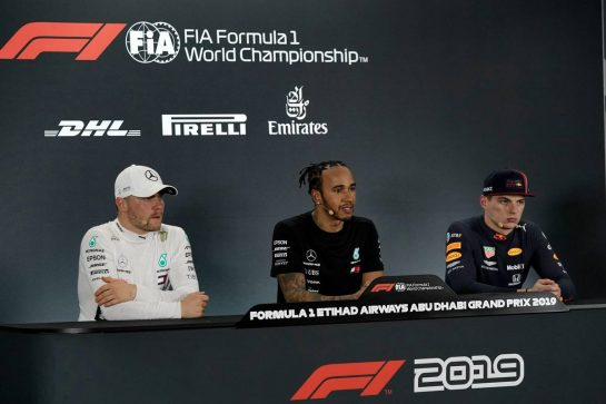 Qualifying top three in the FIA Press Conference (L to R): Valtteri Bottas (FIN) Mercedes AMG F1, second; Lewis Hamilton (GBR) Mercedes AMG F1, pole position; Max Verstappen (NLD) Red Bull Racing, third.