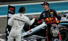 Lewis Hamilton (GBR) Mercedes AMG F1 in qualifying parc ferme with Max Verstappen (NLD) Red Bull Racing.