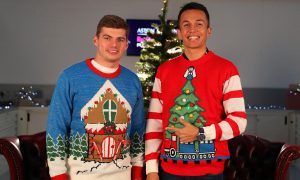 Happy ugly sweater day from Max and Alex!