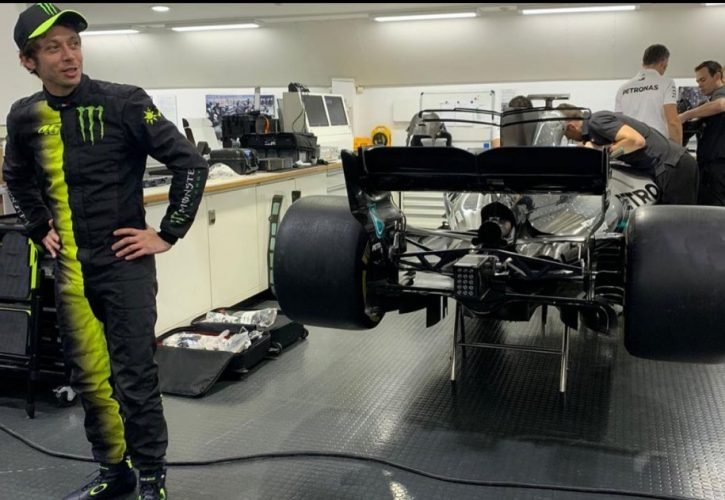 Historic machinery swap completed between Lewis Hamilton and Valentino Rossi in Valencia